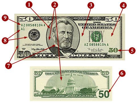 Image result for $50 dollars watermark security feature